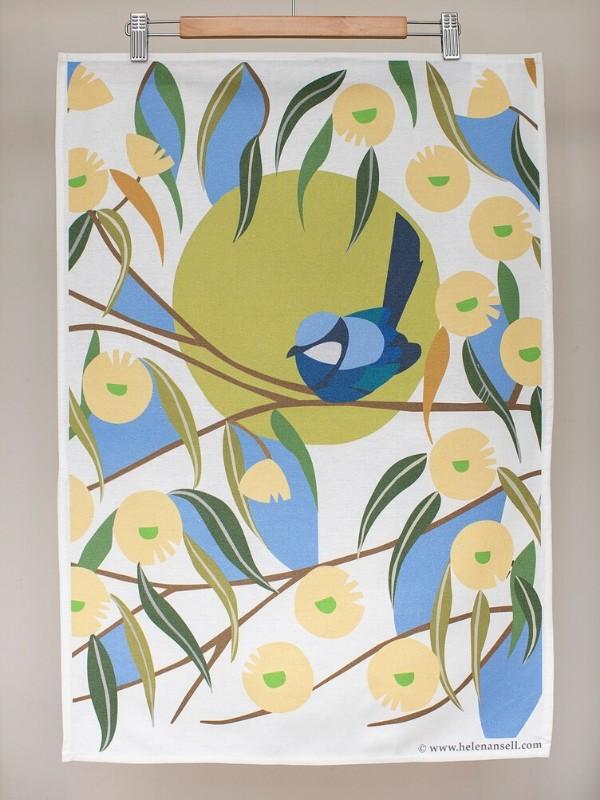 Blue Wren among the Marri Blooms tea towel